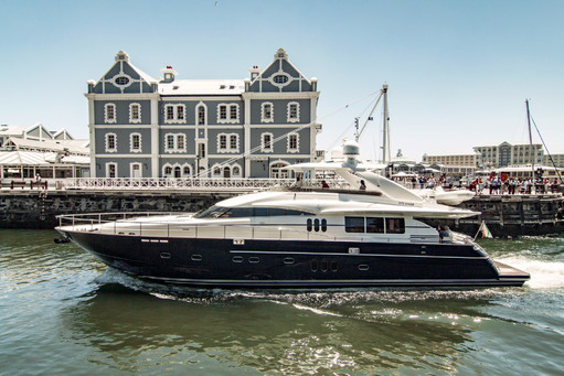 Luxury boat enters harbour
