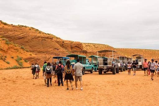 Entry to Antelope Canyon, Navajo Reservation near Page, Arizona US
